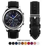 Compatible Samsung Galaxy 46mm/Gear S3 Frontier/Classic Watch Bands, Fullmosa Quick Release Leather Watch Band for Gear S3 Bands/Moto 360 2nd Gen 46mm 22mm Watch Band, Black + Silver Buckle