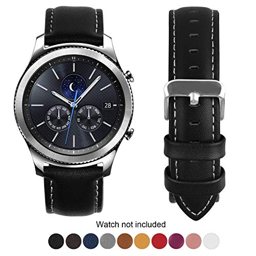Fullmosa Compatible Samsung Gear S3 Frontier/Classic Watch Bands, Quick Release Leather Watch Band for Gear S3 Bands/Moto 360 2nd Gen 46mm 22mm Watch Band, Black + Silver Buckle
