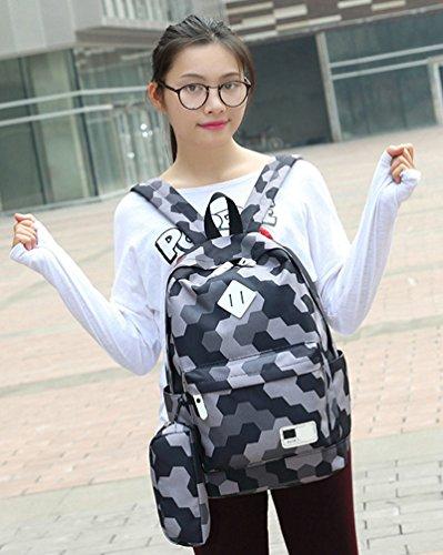 viaggio grigio casual Wanyang pezzi zaino da scuola borsa 3 pezzi zaino 3 Set zaini scuola KJ5uF1clT3
