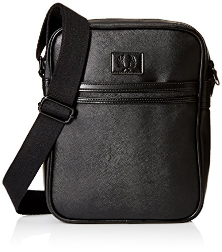 Fred Perry Men's Saffiano Side Bag, Black