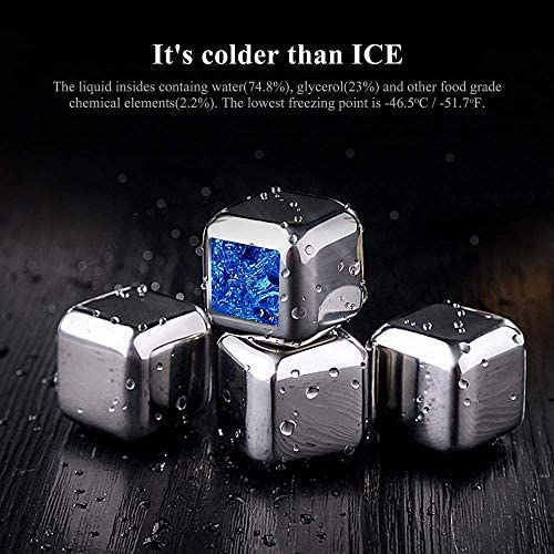 Stainless Steel Whiskey Stones Set of 8 Reusable Ice Cubes Chilling Rocks for Wine /& Gin /& Tonic Drinks