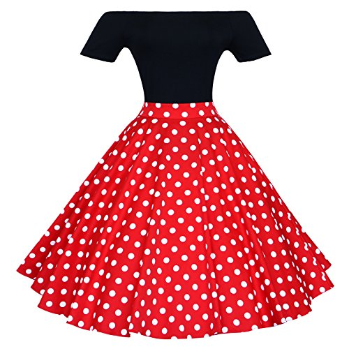 Maggie Tang 1950s Vintage Retro Polka Dots Swing Rockabilly Casual Skirts RW M
