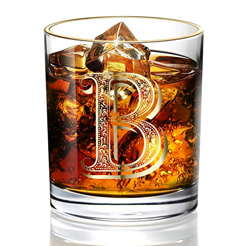B Anniversary Wedding Whiskey Glass for Men/Dad/Son, Vintage Unfading 24K Gold Hand Crafted Old Fashioned Whiskey Glasses, Perfect for Gift and Home Use - 10 oz Bourbon Scotch, Party Decorations