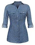 Pinspark Womens Basic Button Down Roll up Sleeve Jean Denim Shirt Tops S-XXL
