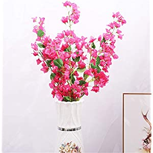 "Skyseen 3pcs Artificial Bougainvillea Glabra Fake Bougainvillea Flower for Wedding Centerpieces Decorative Flowers 47.2"" (Rose) 77"
