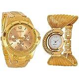 Aaradhya Fashion Analogue White Dial Men's & Women's Couple Watch - A9F-Julla-Goldrosara-Combo