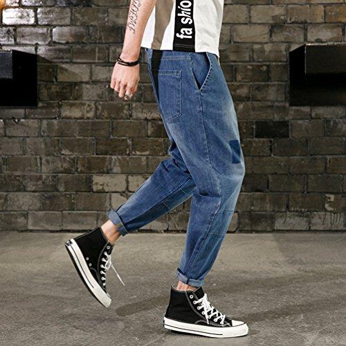 Banda In Vita Elastica Con Da Larghi Uomo Jeans Elasticizzati Casual pantaloni Zaffiro Blu Sentao wqa8vUa