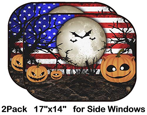 Liili Car Sun Shade for Side Rear Window Blocks UV Ray Sunlight Heat - Protect Baby and Pet - 2 Pack Halloween Festival and USA Flag Background Image ID 31510480 -