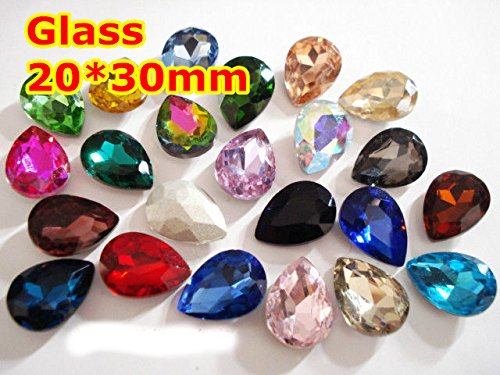Kamas 60Pcs 2030mm Pear Drop Crystal Fancy Stone Pointback Glass Teardrop Droplet Foiled For Jewelry Making,Garment Use - (Color: Sapphire 60pcs)