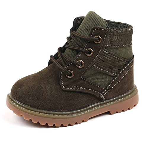 Kimloog Toddler Boys Girls Lace Up Martin Snow Boots Winter Outdoor Hiking Shoes (Army Green, 11.5 M US Little Kid)