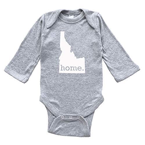 Homeland Tees Idaho Home Baby Bodysuit 6 Months Grey Long Sleeve