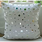 Pillow Cover White 20x20 inches, Luxury White Pillows Cover, Mirror Polka Dots Pillows Cover, Polka Dot Contemporary Cushion Covers, Square Cotton Canvas Pillows Covers for Couch - White Mirrors
