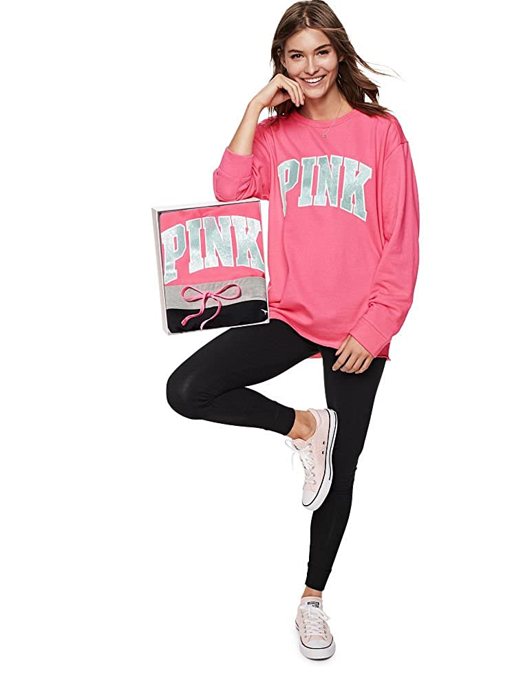 f1aeca3d60bd0a VS PINK Victoria's Secret Pink New! Campus Crew & Campus Legging Gift Set  at Amazon Women's Clothing store: