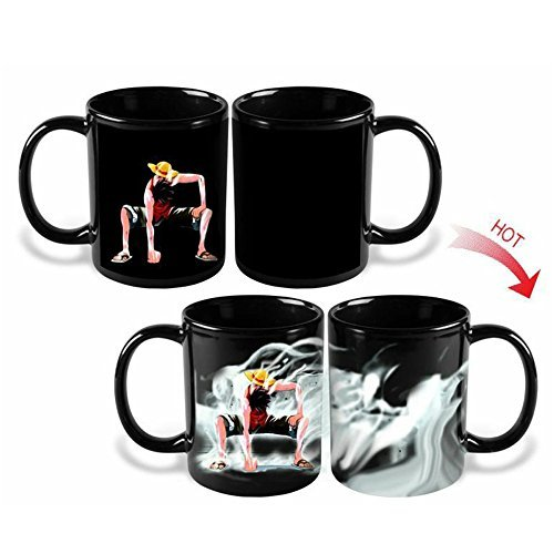 Anime One Piece Luffy Changing Coffee Mug Heat-sensitive Reactive Ceramic Cup Mug Christmas Gift