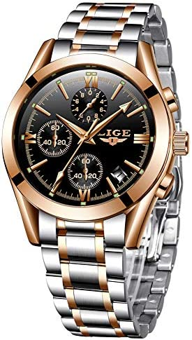 LIEGE Men's Watches Fashion Luxury Business Analog Quartz Watches Waterproof Chronograph Date with Stainless Steel Strap