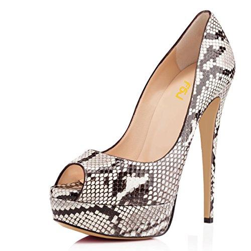 FSJ Women Sexy Peep Toe Platform Pumps High Heels Formal Shoes for Office Ladies Size 12 Snake Print