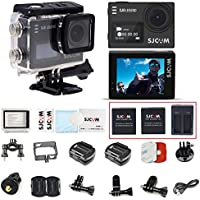 SJCAM SJ6 with 3pcs Batteries and 1pcs Dual Charger 2 LCD Touch Screen 4K Action Camera Sports DV WIFI DVR-Black