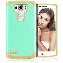 LG G4 Case, MagicMobile (Mint Green / Brown) Dual Layer Color - Slim Hybrid Shockproof Silicone Protective Case For LG G4 - Scratch & Impact Resistant, Anti-Dust Protection Rugged Tough Cover