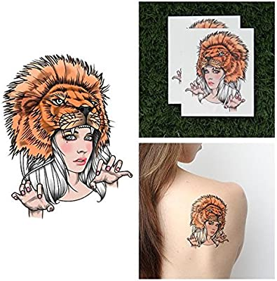 Amazon Com Tattify Lion Headdress Temporary Tattoo Lioness Set
