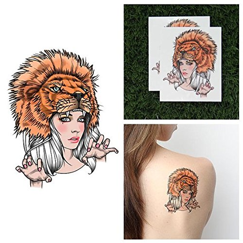 Tattify Lion Headdress Temporary Tattoo - Lioness (Set of 2) - Other Styles Available and Fashionable Temporary (Simple Lioness Costume)