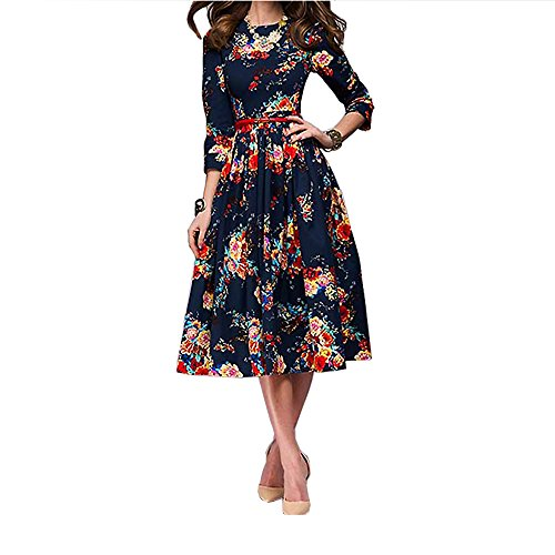 ZIMOXUAN Womens Vintage Floral Print 3/4 Sleeve Cocktail Party Dress