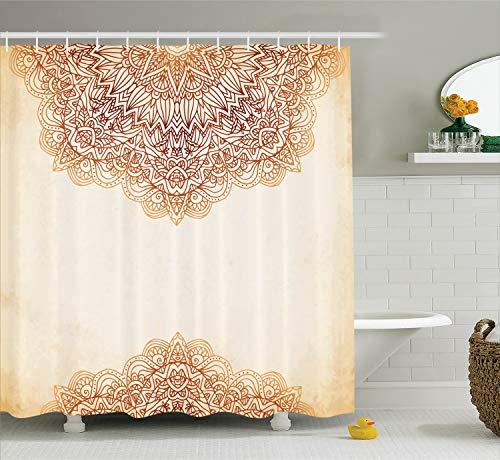 Ambesonne Victorian Shower Curtain, Artistic Oriental Vintage Ornate Pattern Ethnic Henna Style Mandala Artwork Print, Fabric Bathroom Decor Set with Hooks, 70 Inches Long, Beige