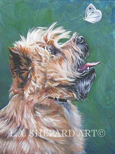 A Cairn Terrier art portrait print of an LA Shepard painting 12x16
