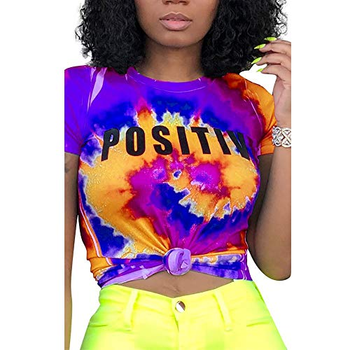 Tie Dye Shirt Short Sleeve Summer Graphic Funny Cute Tees T-Shirts for Women, Purple Medium