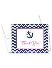 50 Nautical Thank You Cards (Pink & Navy) BOBEBE Online Baby Store From New York to Miami and Los Angeles