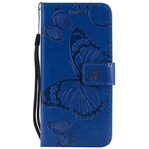 iPhone6S par Portefeuille Fermeture Protection 6S Papillons de 6 pour Apple Carte en Cuir iPhone Choc avec Rabat iPhone Aimant Pouces LOKTU214 Bleu 4 7 Lomogo Coque iPhone6 Etui Anti Housse Porte OS6zwx