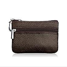Fashion Story Men Women Card Change Key Holder Wallet Coin Purse Zip 10.5*7.5cm (Coffee)