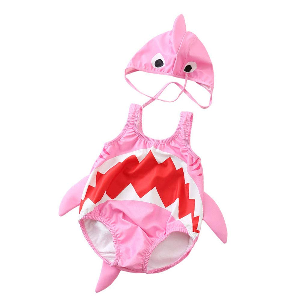 Kid Baby Boys Girls One Piece Shark Swimsuit with Caps (Pink, 1-2 Years/Tag: XL) by Miccina