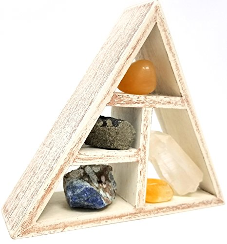 Crystal Display Box - INSPIRING CREATIVITY Crystal Healing Kit / Energy Stones and Crystal Display Shelf set in Gift Box / Quartz Point throat chakra