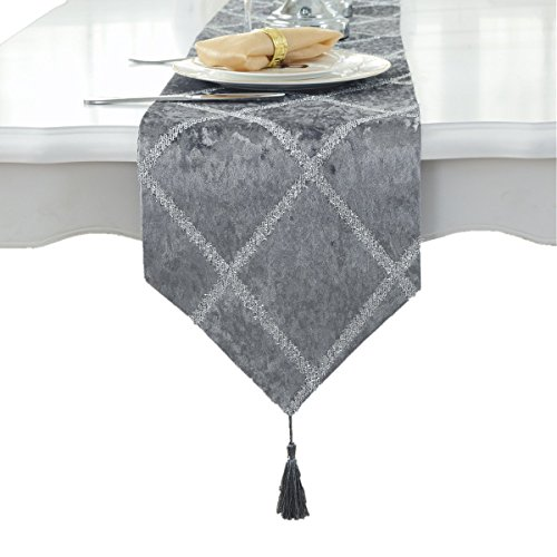 """Bettery Home Classic Table Runner with Tassels for Wedding Christmas Party Decoration, 11"""" x 82"""", Gray"""