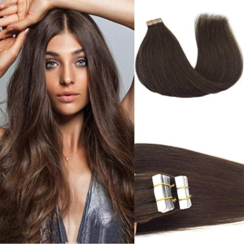 Googoo 20 inch Human Hair Extensions Tape in Chocolate Brown Real Natural Hair Extensions Tape in Skin Weft Silky Straight 50g 20pcs (Taking Care Of Tape In Hair Extensions)