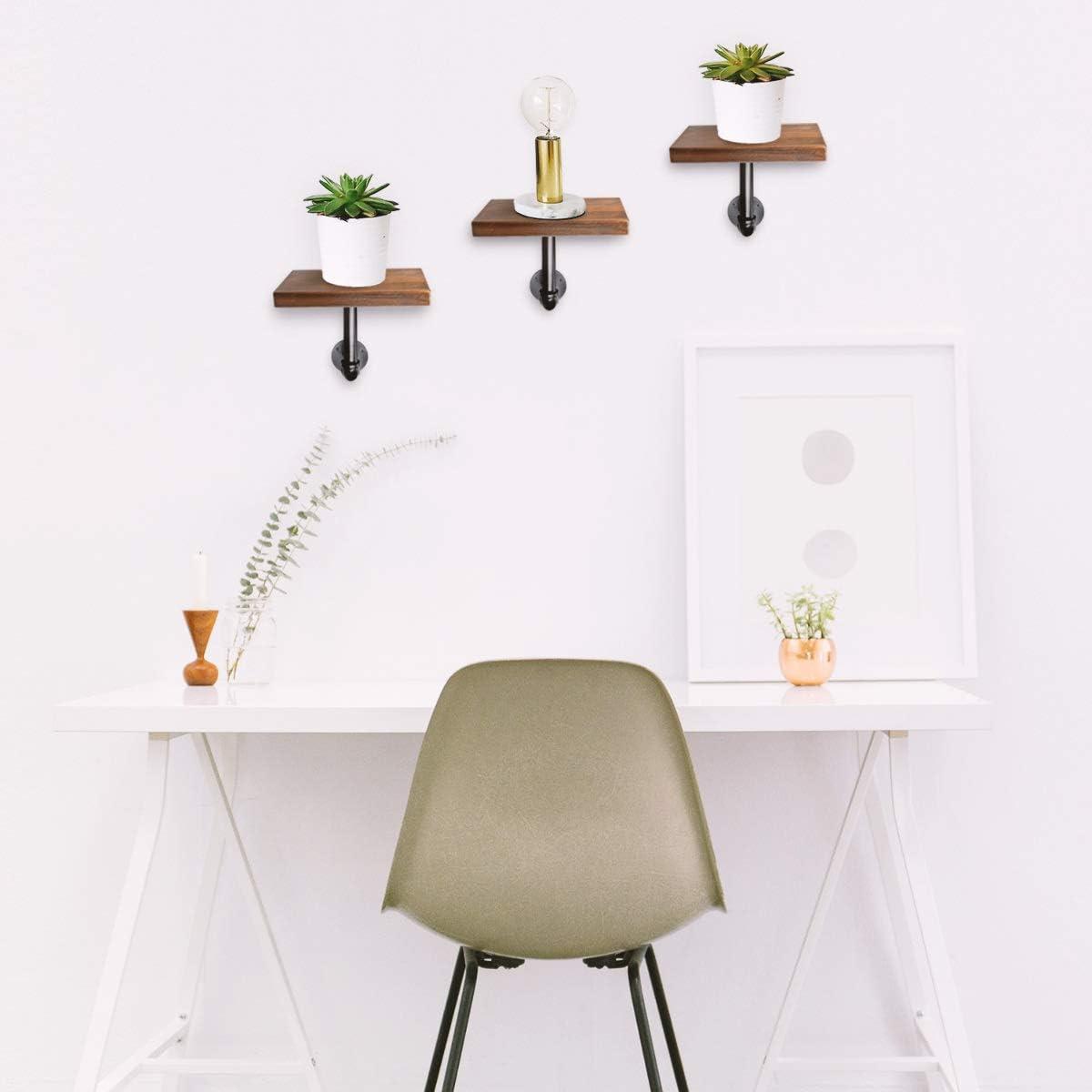 Navaris Wandregal Regal aus Holz und Metall einfache Montage Ablage f/ür Bilderrahmen Deko B/ücher Blumentopf 3er Set Schweberegal H/ängeregal