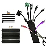 Cable Management Cord Organizer Cable Sleeve 19'' Flexible Wire Sleeve with Zipper & Buckle Perfect Protector for Computer, TV, Desk, Home, Office 4 Pack-Black