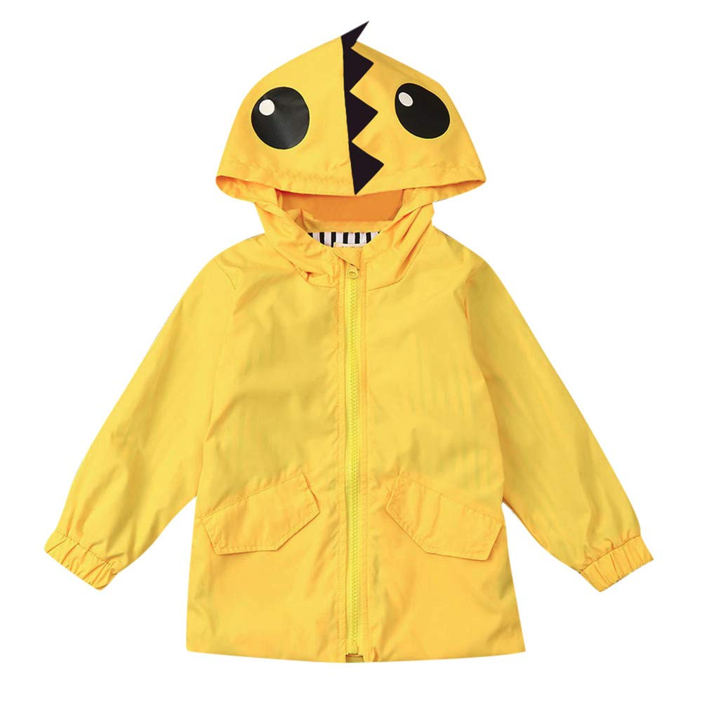 Fartido Toddler Kids Raincoat Baby Boy Girl Cartoon Dinosaur Hooded Zipper Coat Fartido-0893