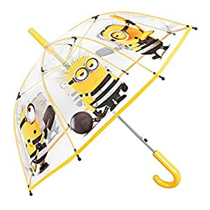 Paraguas Mi Villano Favorito Niño - Estampado Bob Kevin Stuart - Paraguas Minions Transparente de Burbuja - Resistente Antiviento Largo - Apertura Automatica - 4/6 Años - 74 cm de diámetro - Perletti