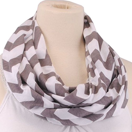 Kathlena Soft Jersey Knit Zig Zag Chevron Cotton Sheer Infinity Scarf (Jersey Cotton Scarf)