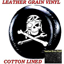 """LINED VINYL SPARE TIRE COVER 29"""" 30"""" 31"""" LEATHER GRAIN Mechanical Pirate Skull"""