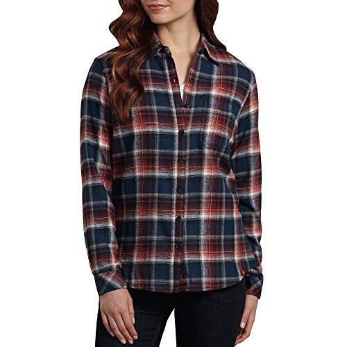 Dickies Women's Plus-Size Long Sleeve Plaid Flannel Shirt, Aged Brick/Dark Navy/Alloy, 1PS (Aged Brick)