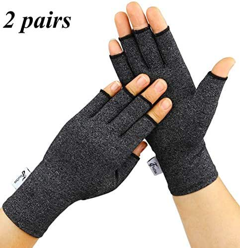 Arthritis Gloves, 2 Pairs Compression Gloves for Women Men, Fingerless Gloves Support and Warmth for Hands, Finger Joint, Relieve Pain from Rheumatoid, Osteoarthritis, RSI (Black, Small-2 Pairs)