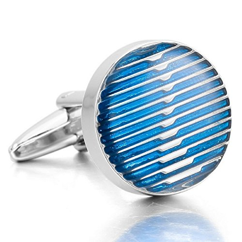 Enamel Elegant Cufflinks - Kalendone Enamel Cuff Buttons Cufflinks Silver Blue Round Shirt Cufflinks Wedding Cufflinks Business Unique Charm Elegant Sleeve Button Unique Cuff Links for Men