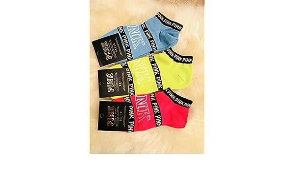 2422692452c Amazon.com  Victoria s Secret PINK Ankle Socks Set One Size Orange Grey  White