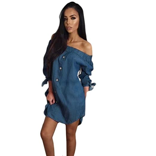 5b667509145b Womens Fashion A-line Sexy Off Shoulder Tie Knot Puff Sleeve Buttons Jean