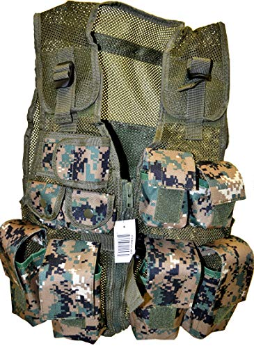 Pouch Desert Camo - Explorer Camo Combat Vest Black & Jungle camo & ACU & Digital Desert & Multicamo Vest Durable Breathable Tactical Vest 9 Pockets Fits Ages