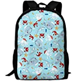 Best KAKA Work Backpacks - Red Crabs, Dolphins Canvas Laptop Backpack Cute School Review