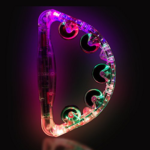 Clear LED Light up Musical Flashing Tambourine -