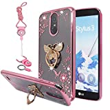lg 3 accessories - LG Stylo 3, Stylo 3 Plus Case, Best Share Luxury Bling Crystal Flower Slim Fit Clear Thin TPU Back Cover Soft Bumper, Butterfly Kickstand Lanyard